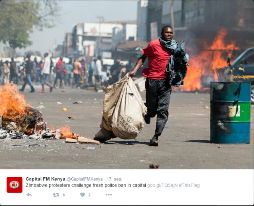 Skjermbilde Twitter Zimbabwe 2016